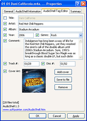 AudioShell for Windows XP freeware music files tag editor