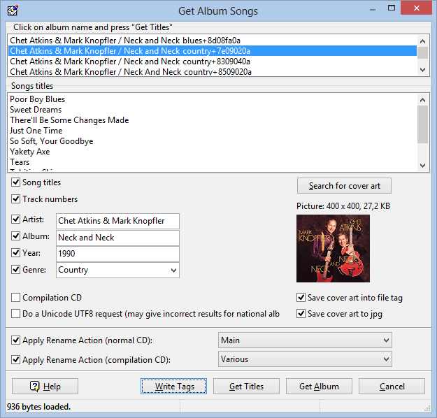 Music tag editor - Tag&Rename features